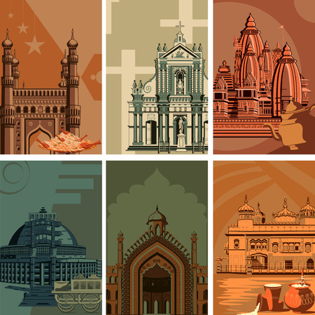 stupa: Vintage poster of famous landmark place with heritage monument in India . Vector illustration Illustration
