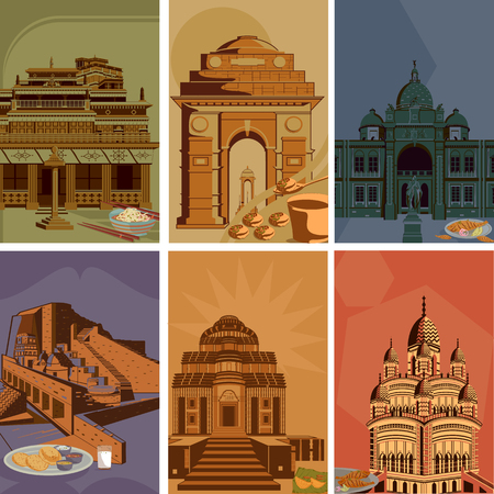 historic: Vintage poster of famous landmark place with heritage monument in India . Vector illustration Illustration