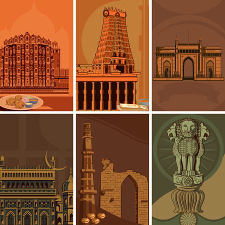Vintage poster of famous landmark place with heritage monument in India . Vector illustration Illustration
