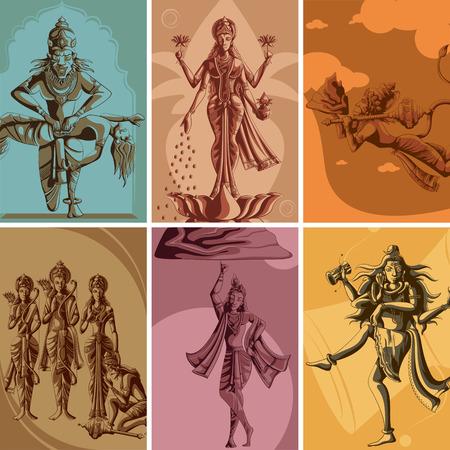 mahadev: Indian God and Goddess Religious Vintage Poster. Vector illustration