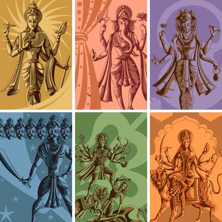 shakti: Indian God and Goddess Religious Vintage Poster. Vector illustration