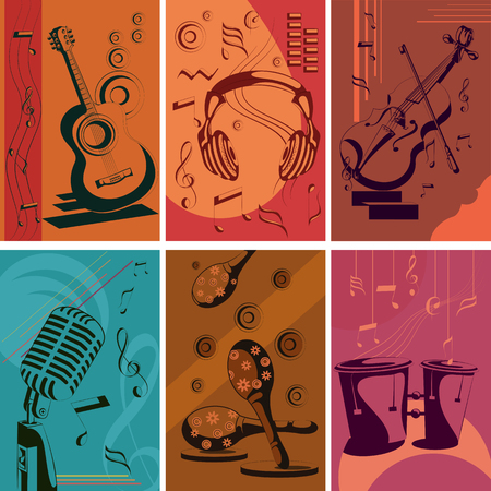 music poster: Vintage Music poster. Vector illustration