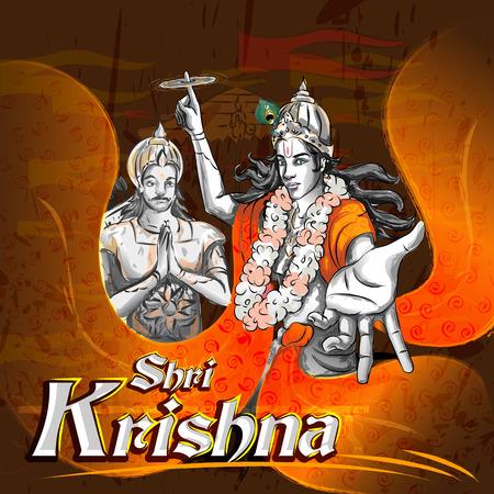 mahabharata: Lord Krishna Indian God Janmashtami festival holiday. Vector illustration