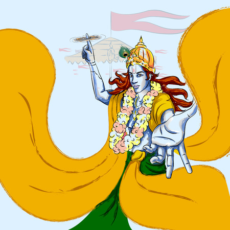 Lord Krishna Indian God Janmashtami festival holiday. Vector illustration