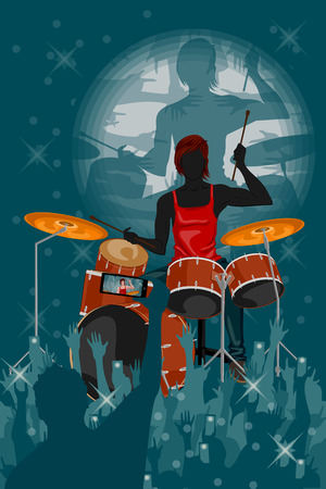 entertainer: Man playing drum in Music band performance. Vector illustration