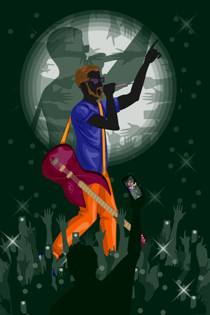 man playing guitar: Man playing guitar in Music band performance. Vector illustration Illustration
