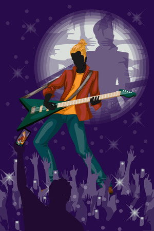 entertainer: Man playing guitar in Music band performance. Vector illustration Illustration