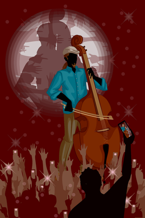 double bass: Man playing Double bass in Music band performance. Vector illustration