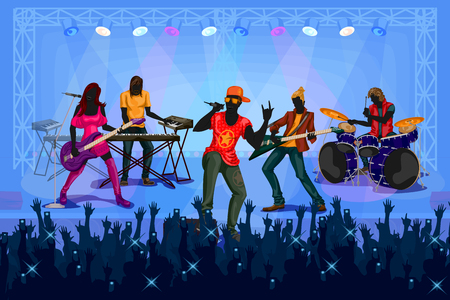 concert performance: Group of people performing live on Music band concert performance. Vector illustration