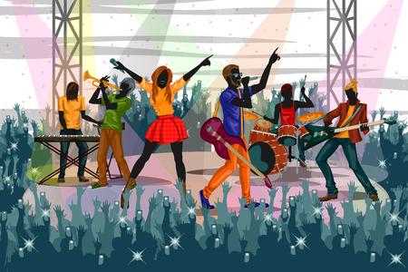Grupo de personas que actuarán en directo en el rendimiento del concierto de la banda de música. ilustración vectorial Ilustración de vector