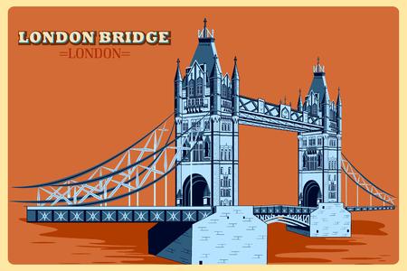 drawbridge: Vintage poster of London Bridge famous monument of United Kingdom