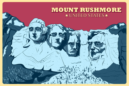 president of the usa: Vintage poster of Mount Rushmore famous monument of United States.
