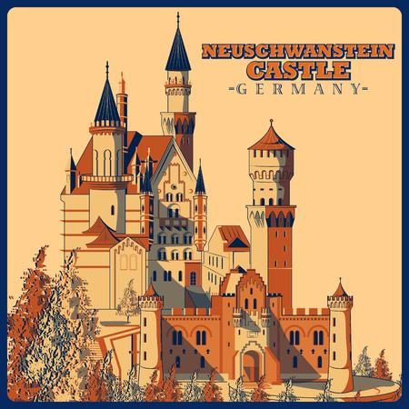 Poster d'epoca del castello di Neuschwanstein a Schwangau, famoso monumento della Germania Archivio Fotografico - 65835149
