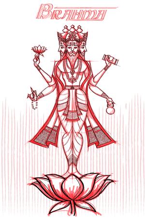 Indian God Brahma in sketchy look. Vector illustration