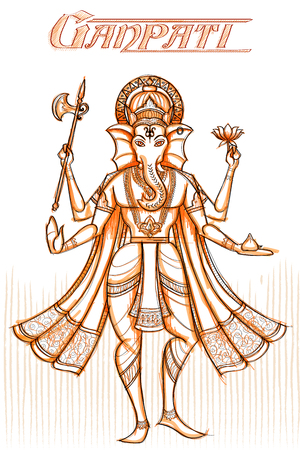 ganpati: Indian God Ganpati in sketchy look. Vector illustration
