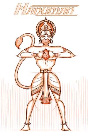sacred trinity: Indian God Hanuman in sketchy look. Vector illustration