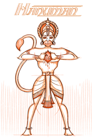 Indian God Hanuman in sketchy look. Vector illustration