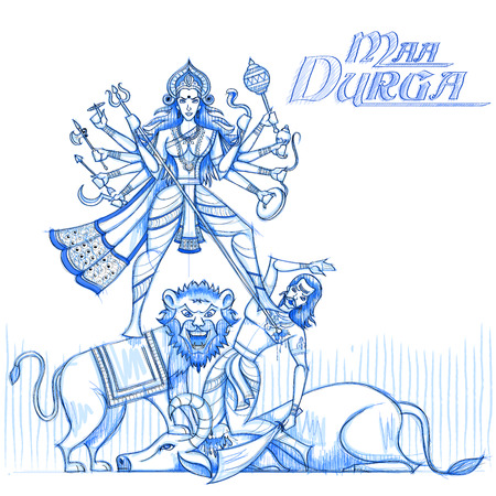 shakti: Indian Goddess Durga in sketchy look. Vector illustration Illustration