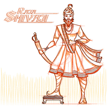 sacred trinity: Indian Raja Shivaji in sketchy look. Vector illustration