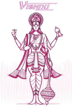 Indian God Vishnu in sketchy look. Vector illustration Illustration