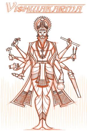 Indian God Vishwakarma in sketchy look. Vector illustration