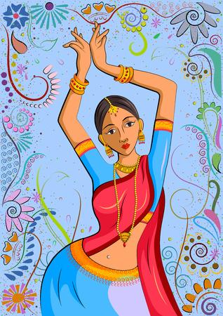 dancing pose: Traditional Indian woman in dancing pose. Vector illustration