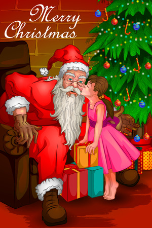 religious event: Santa Claus in Merry Christmas holiday background. Vector illustration Illustration