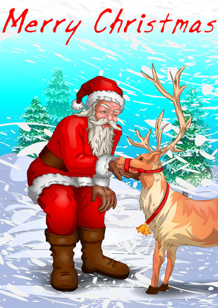 Santa Claus in Merry Christmas holiday background. Vector illustration Illustration