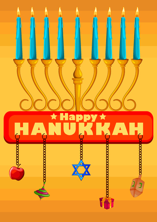 Israel Holiday for Festival of Light Happy Hanukkah celebration background. Vector illustration Illustration
