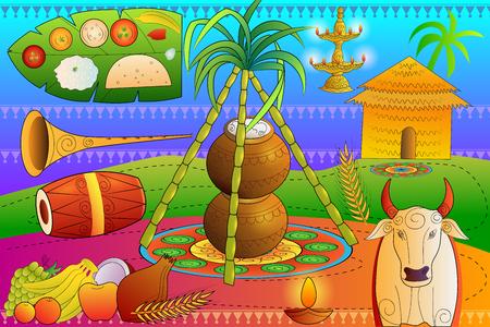 harvesting rice: vector illustration of Happy Pongal festival celebration background