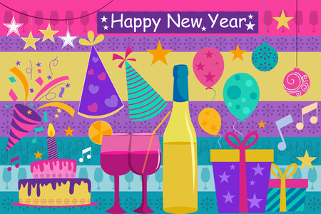 new year celebration: vector illustration of Happy New Year celebration background