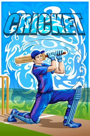 cricketer: Concept of sportsman playing Cricket. Vector illustration.