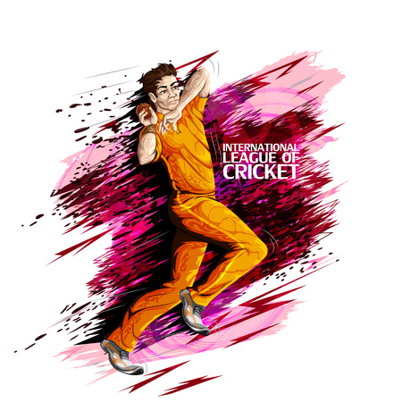 Concept of sportsman playing Cricket. Vector illustration