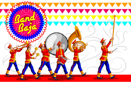Marching Music Brass Band für Festivalfeier. Vektor-Illustration Standard-Bild - 79653274
