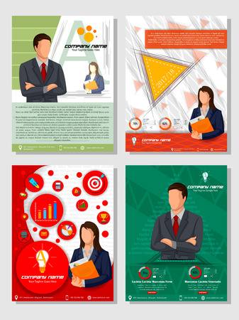 Business Template Infographic for Financil Report Book Cover Presentation and Brochure Flyer Leaflet Marketing Advertising. Vector illustration 向量圖像
