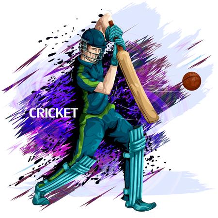 Concept van sportman Cricket spelen. Vector illustratie