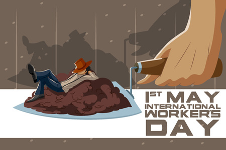 first day: Background concept for Happy May Day knows as Internation Workers Day. Vector illustration