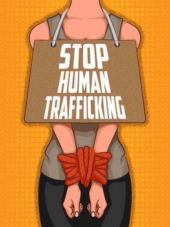 Social Awarness concept poster for Stop Human Trafficking Illustration