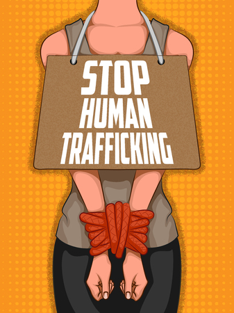 Social Awarness concept poster for Stop Human Trafficking Illustration
