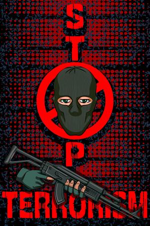 crime prevention: Social Awareness concept poster for Stop Terrorism Illustration