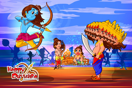 Lord Rama with demon Ravana in Happy Dussehra Navratri celebration India holiday background. Vector illustration Illustration