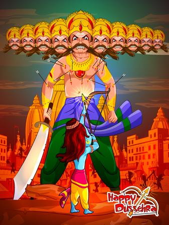 Lord Rama with demon Ravana in Happy Dussehra Navratri celebration India holiday background.