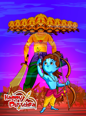 Lord Rama with demon Ravana in Happy Dussehra Navratri celebration India holiday background. Vector illustration Ilustrace
