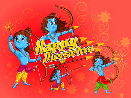 immortal: Lord Rama in Happy Dussehra Navratri celebration India holiday background. Vector illustration