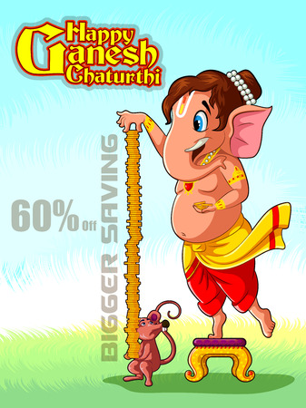 Happy Ganesh Chaturthi festival of India background with Lord Ganpati for sale promotion advertisement.
