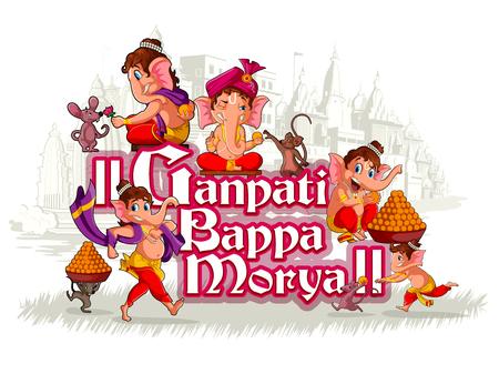 Happy Ganesh Chaturthi festival of India background with Lord Ganpati.