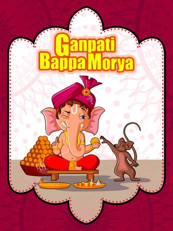 Gelukkig Ganesh Chaturthi festival van India achtergrond met Lord Ganpati Stockfoto - 85277135