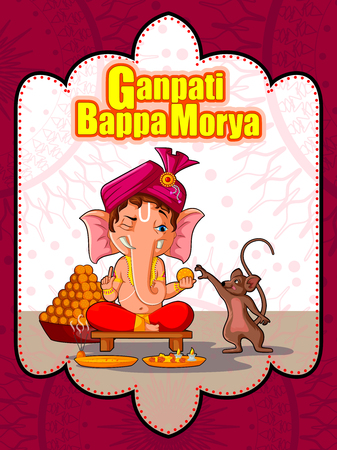 Happy Ganesh Chaturthi festival of India background with Lord Ganpati Illusztráció