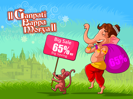 Happy Ganesh Chaturthi festival of India background with Lord Ganpati for sale promotion advertisement. Vector illustration Illustration