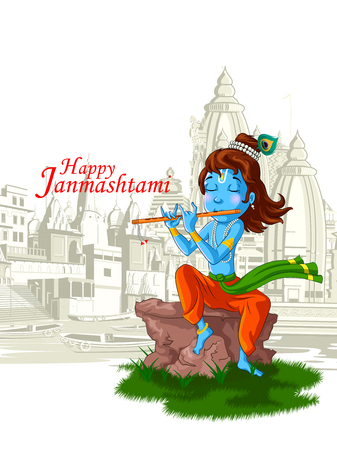 Lord Krishna Indian God Janmashtami festival holiday.